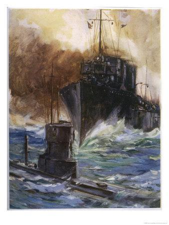 """British Destroyer """"Badger"""" Rams and Damages a U-Boat off the Dutch Coast"""