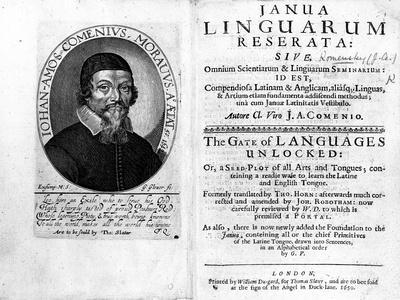 Frontispiece and Titlepage to 'Janua Linguarum Reserata' with a Portrait of Jan Amos Komensky