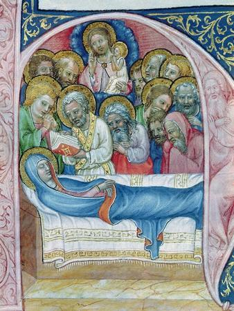 Ms Xiii a 12 Burial of the Virgin, from 'Liber Viaticus' by Jean De Stredy, after 1360 (Vellum)