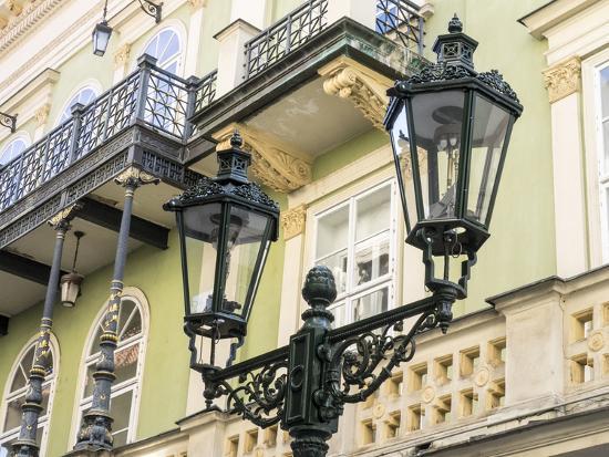 Czech Republic, Prague. Street lamppost in old town Prague.-Julie Eggers-Photographic Print
