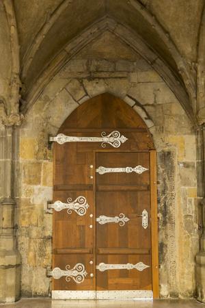 Czech Republic, Prague. Wooden Door in St. Vitus Cathedral-Jaynes Gallery-Photographic Print