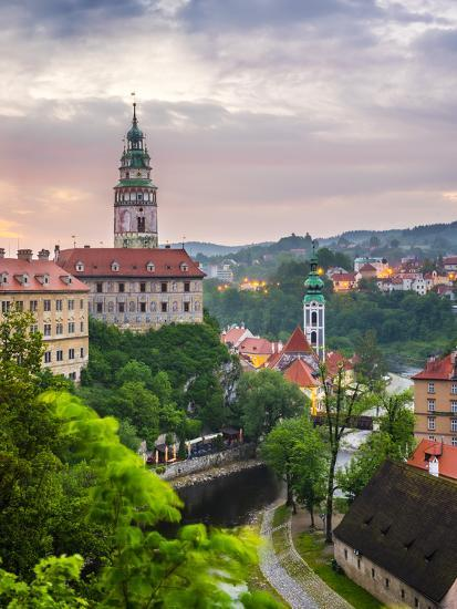 Czech Republic, South Bohemian Region, Cesky Krumlov. Cesky Krumlov Castle and buildings in old tow-Jason Langley-Photographic Print