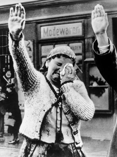 Czechoslovakian Woman Sobbs, Saluting German Troops after the Annexation by Germany of Sudetenland--Photographic Print