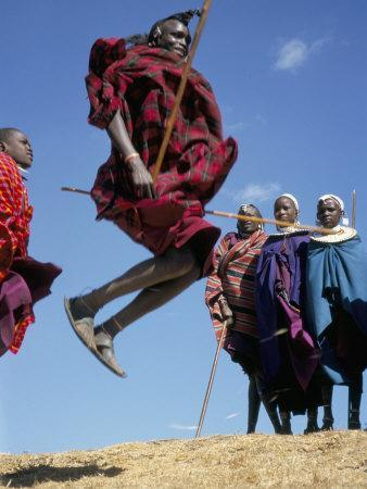 Masai Warriors Perform Jumping Dance, Masai Mara National Park, Kenya, East Africa, Africa
