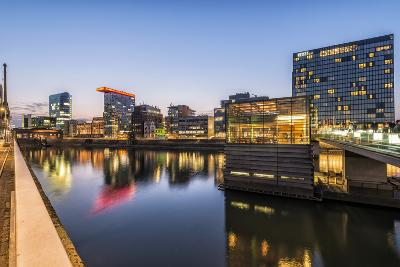 D?sseldorf, North Rhine-Westphalia, Germany, Media Harbour Office Building at Dusk-Bernd Wittelsbach-Photographic Print