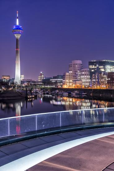 DŸsseldorf, North Rhine-Westphalia, Media Harbour with Television Tower and Gehry Houses at Dusk-Bernd Wittelsbach-Photographic Print