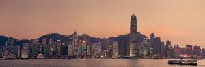 Ferry Sailing in Harbour towards City Skyline by d3sign