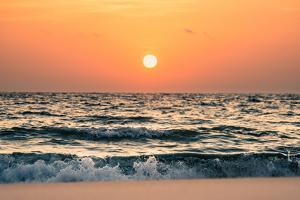 Sunset over Seascape and Skyline with Spindrift by d3sign