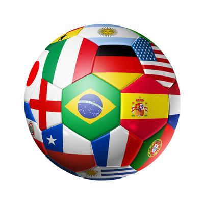 Football Soccer Ball with World Teams Flags