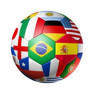 Football Soccer Ball with World Teams Flags by daboost