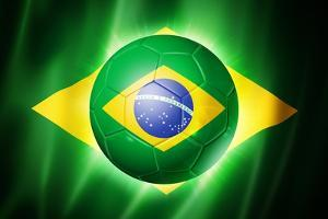 Soccer Football Ball with Brazil Flag by daboost