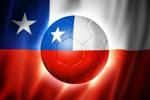 Soccer Football Ball with Chile Flag by daboost