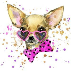 Dog Fashion T-Shirt Graphics. Dog Illustration with Splash Watercolor Textured Background. Unusual by Dabrynina Alena