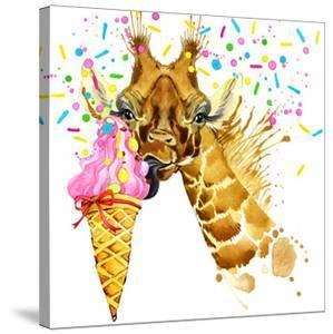 Giraffe Illustration with Splash Watercolor Textured Background by Dabrynina Alena