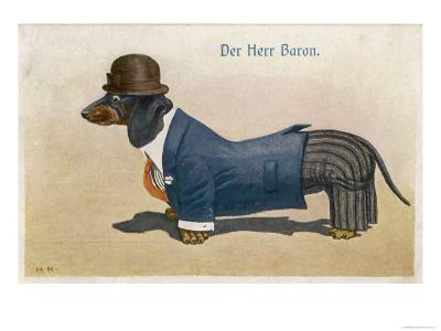 Dachshund Dressed as a Man--Giclee Print