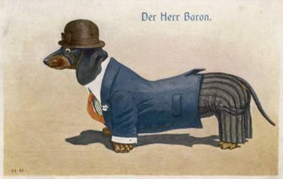 Dachshund Dressed as a Man
