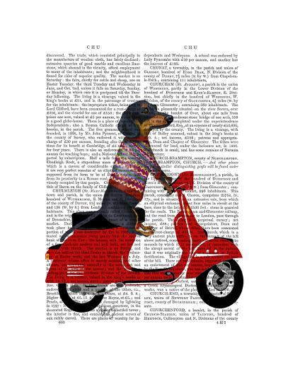 Dachshund on a Moped-Fab Funky-Art Print