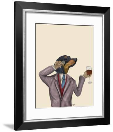 Dachshund Wine Snob-Fab Funky-Framed Art Print