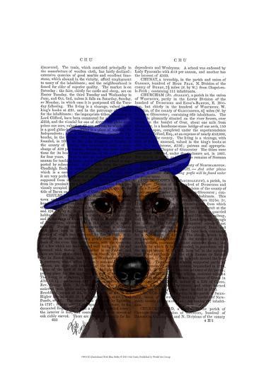 Dachshund With Blue Trilby-Fab Funky-Art Print