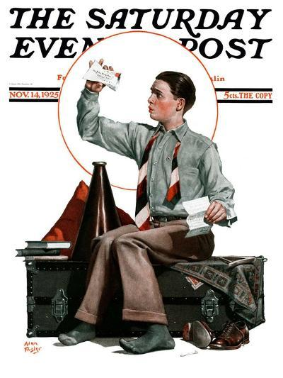 """""""Dad, Where's the Cash?,"""" Saturday Evening Post Cover, November 14, 1925-Alan Foster-Giclee Print"""