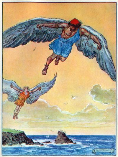 Daedalus and Icarus, from 'The Children's Hour: Stories from the Classics', Published by Waverley…-Charles Edmund Brock-Giclee Print