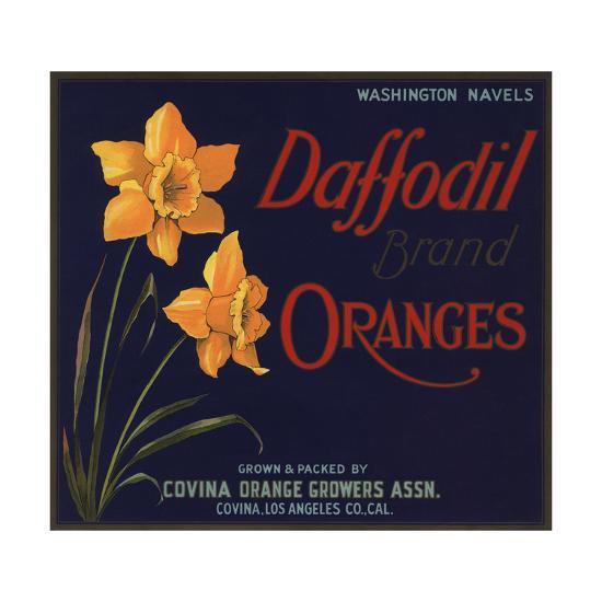 Daffodil Brand - Covina, California - Citrus Crate Label-Lantern Press-Art Print