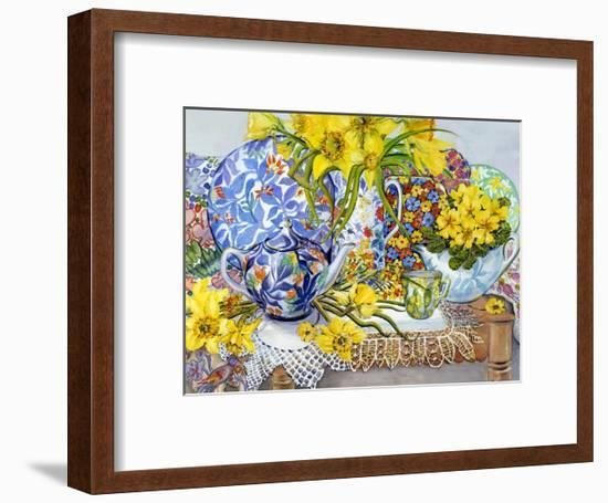 Daffodils, Antique Jugs, Plates, Textiles and Lace, 2012-Joan Thewsey-Framed Giclee Print