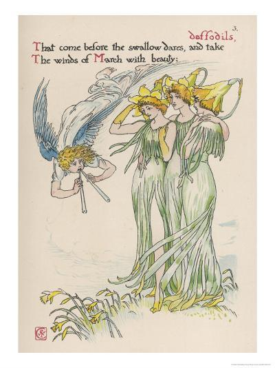 Daffodils Personified-Walter Crane-Giclee Print