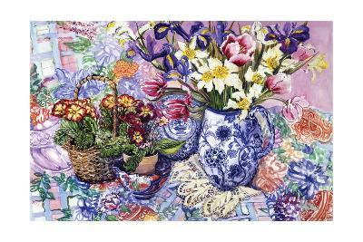 Daffodils, Tulips and Iris in a Jacobean Blue and White Jug with Sanderson Fabric and Primroses,?-Joan Thewsey-Giclee Print
