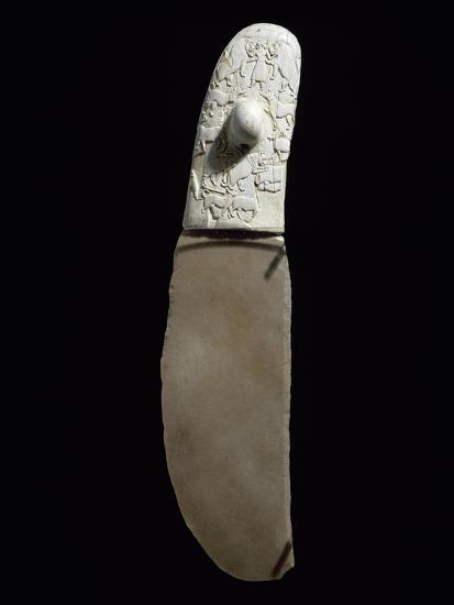 Dagger Decorated with War and Hunting Scenes, Flint Blade, Elephant Ivory Handle--Giclee Print