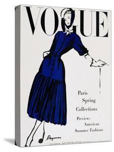 Vogue Cover - April 1947 - Black and Blue by Dagmar