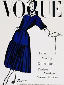 Vogue Cover - April 1947 - Black and Blue by Dagmar