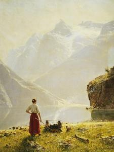 A Summer Day on a Norwegian Fjord by Dahl Hans