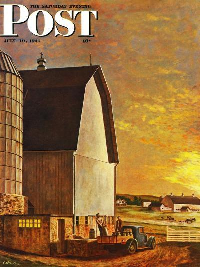 """Dairy Farm,"" Saturday Evening Post Cover, July 19, 1947-John Atherton-Giclee Print"