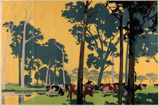 Dairying in Australia, from the Series 'Empire Buying Makes Busy Factories'-Frank Newbould-Giclee Print
