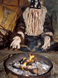 Native Shaman Performing by Bonfire, Kamchatka, Russia by Daisy Gilardini