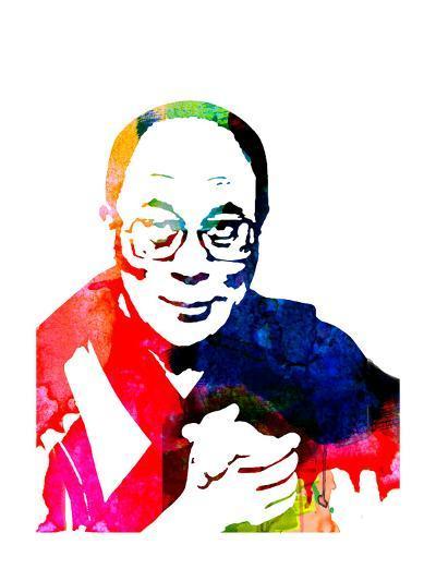 Dalai Lama Watercolor-Lora Feldman-Art Print