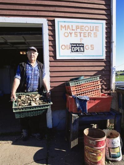 Dale Marchland Selling Malpeque Oysters, Malpeque, Prince Edward Island, Canada-Alison Wright-Photographic Print