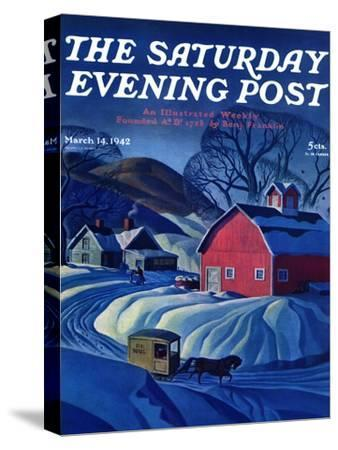 """""""Mail Wagon in Snowy Landscape,"""" Saturday Evening Post Cover, March 14, 1942"""