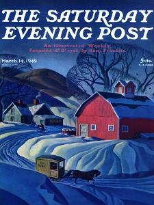 """Mail Wagon in Snowy Landscape,"" Saturday Evening Post Cover, March 14, 1942 by Dale Nichols"