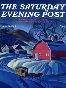 """""""Mail Wagon in Snowy Landscape,"""" Saturday Evening Post Cover, March 14, 1942 by Dale Nichols"""