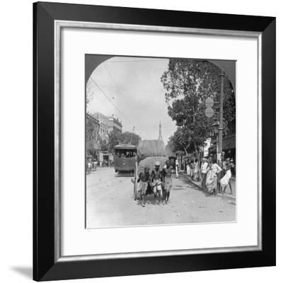 Dalhousie Street, Busiest in the City, Rangoon, Burma, 1908--Framed Photographic Print
