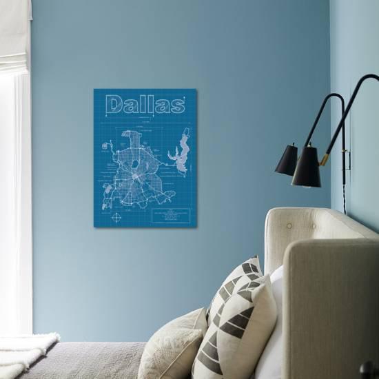 Dallas artistic blueprint map art print by christopher estes art malvernweather Gallery
