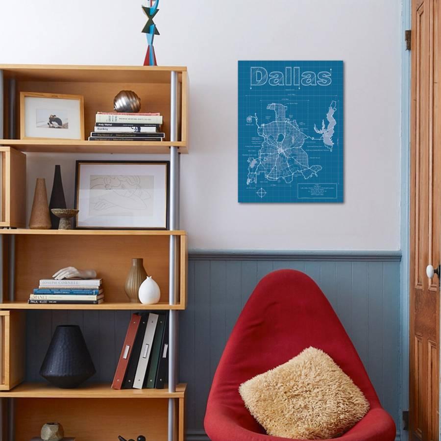 Dallas artistic blueprint map art print by christopher estes art malvernweather Images