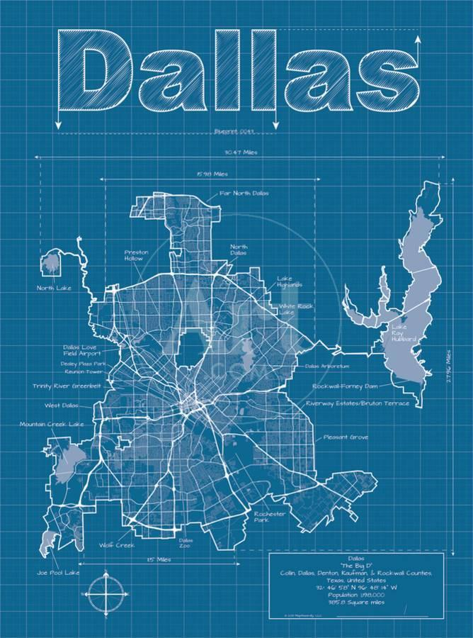 Dallas artistic blueprint map art print by christopher estes art malvernweather Image collections