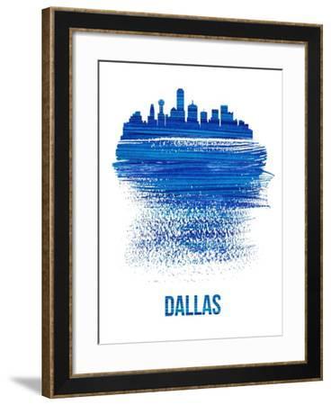 Dallas Brush Stroke Skyline - Blue-NaxArt-Framed Art Print