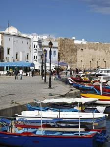 Fishing Boats, Old Port Canal With Kasbah Wall in Background, Bizerte, Tunisia by Dallas & John Heaton
