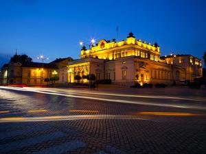 Floodlit National Assembly Building, Ploshtad National Assembly Square, Sofia, Bulgaria, Europe by Dallas & John Heaton