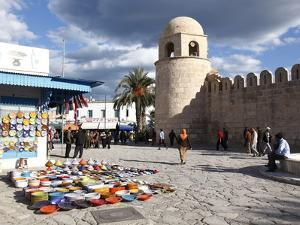 Pottery Shop Display Outside the Great Mosque, Place De La Grande Mosque, Medina, Sousse, Tunisia by Dallas & John Heaton