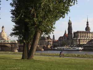 River Elbe, Hofkirche, Castle, and Frauenkirche, Dresden, Saxony, Germany by Dallas & John Heaton